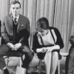 Михаил Светлов, Андрей Вознесенский, Белла Ахмадулина и Евгений Евтушенко на встрече с читателями
