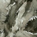 У акулы плечи, словно струи,